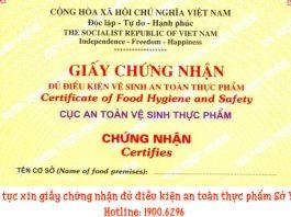 Thủ tục xin giấy chứng nhận đủ điều kiện an tothực phẩm Sở Y tế